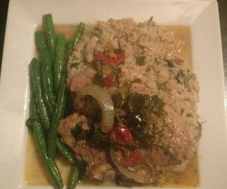 Basil Wrapped Sauteed Pork Chops with Creamy Mushroom Rice and Garlic Butter String Beans